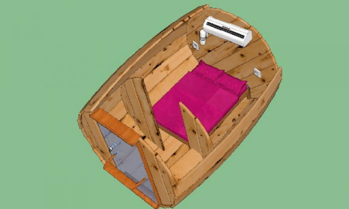 Plano casa barril - dormir en un barril en una escapada romántica en pareja