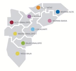 Alicante fylkeskart