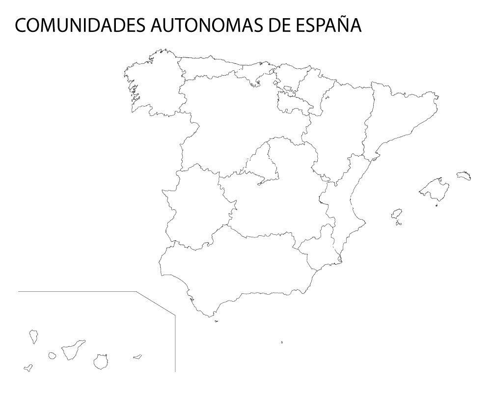 Mapa mudo de ciudades autónomas de españa