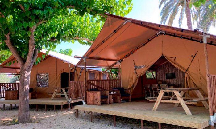 Alojamiento tienda safari en camping armanello, benidorm