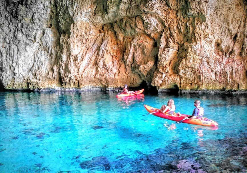 Kayaking in the tallada cave, xàbia (alicante)
