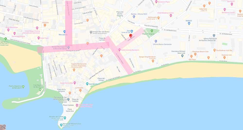 Mapa calles de benidorm para hacer compras
