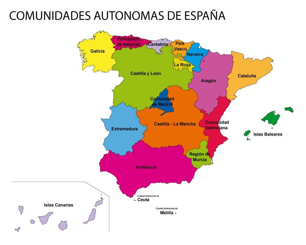 Mapa solo comunidades autónomas de españa