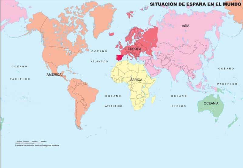 Mapa de españa en el mundo