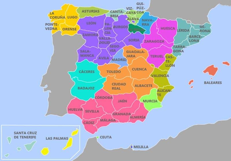 Mapa solo provincias de españa