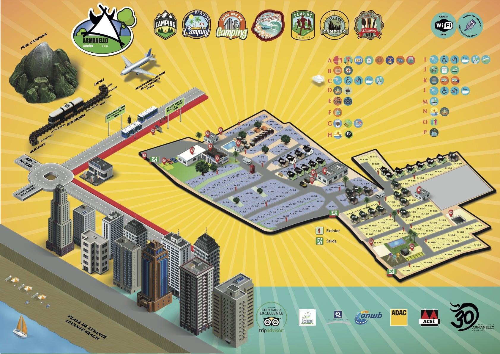 Plano o mapa de camping armanello en benidorm (alicante)
