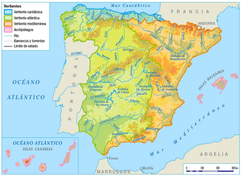 Mapa de los rios de españa