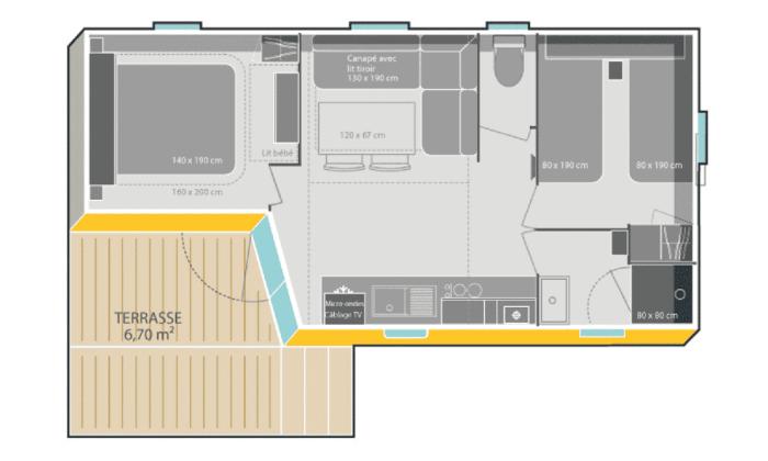 Plano bungalow armanello 6 personas