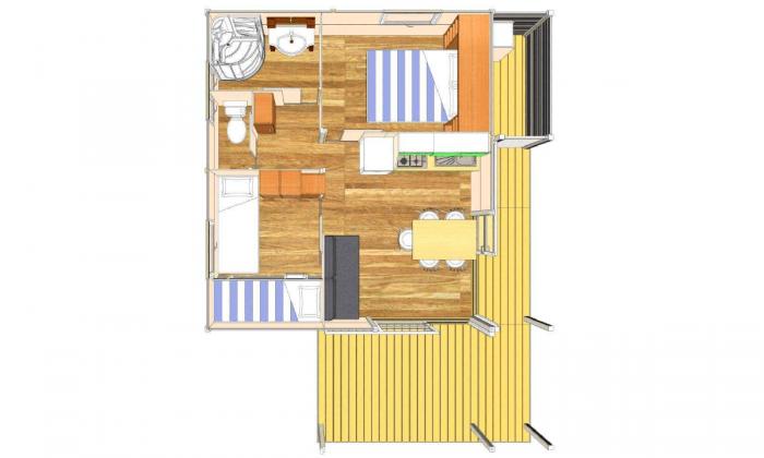 Plano bungalow para 5 personas