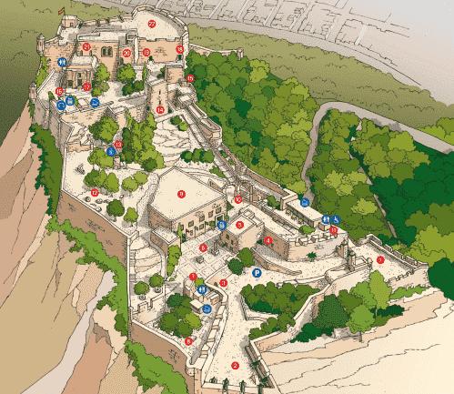 Plattegrond van het kasteel van santa bárbara in alicante