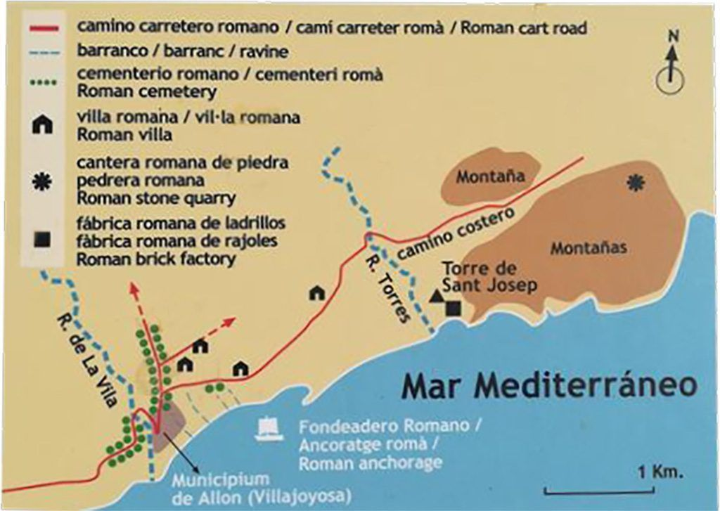 Plan ou carte d'allon, ancien nom de villajoyosa à l'époque romaine